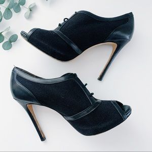Ann Taylor Black Lace Up Stiletto Ankle Booties